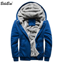 BOLUBAO ファッションブランド男性のジャケット秋冬新男性プラスベルベットの肥厚ジャケット男性カジュアルフード付きジャケットコート