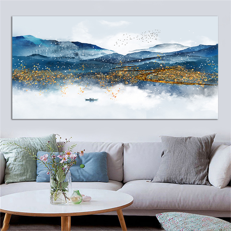 Chinese Blue and Golden Mountain Landscape Wall Art Painting Modern Abstract Cuadro Picture Art Vintage Home Decor Canvas Prints