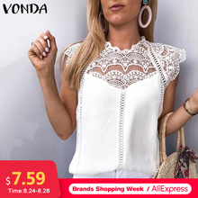 VONDA 2020 Sexy Hollow Out Women Blouse Sleeveless Lace Shirt OL Office Ladies Shirt Party Tops Camisas White Blouse Plus Size