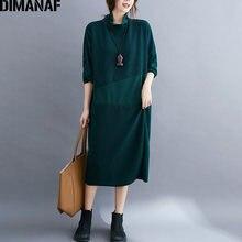 Dimanaf Осень Зима Женское платье размера плюс с длинным рукавом