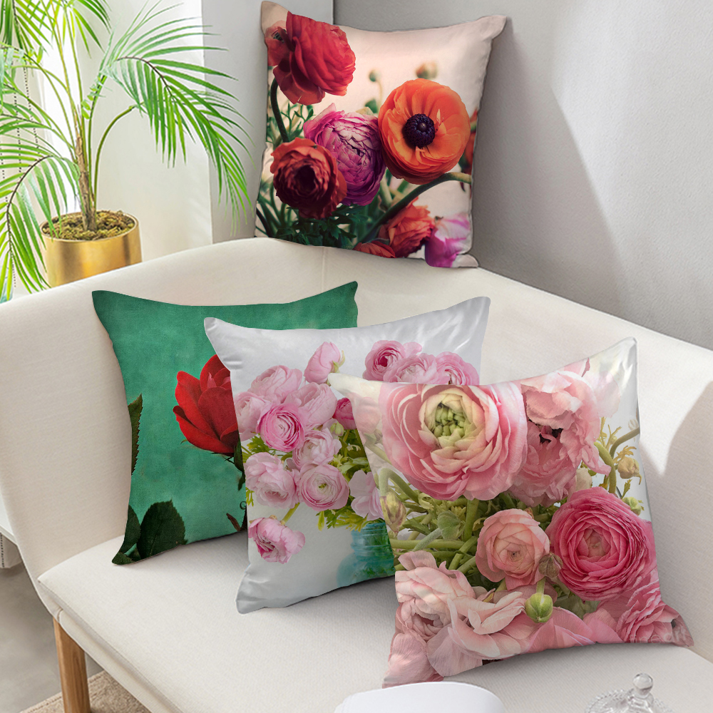 Fuwatacchi Euro Style Home Decor Cushion Cover Rose Flower Throw Pillow For Sofa Mediterranean Style Pillow Case For Mothers Day Cushion Cover Aliexpress