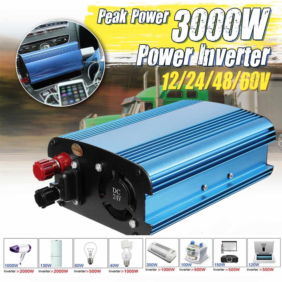 Solar Power Inverter 3000W p eak DC 60V To 220V LCD Display Solar car Inverter Modified Sine Wave Power Converter