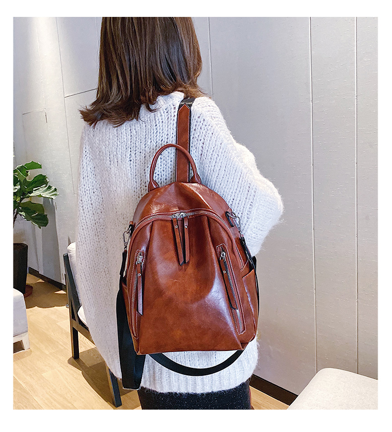 Classic Leather Backpack Women Large Capacity Backpacks Travel Bags College Student School Shoulder Bag Vintage Rugzak XA586H
