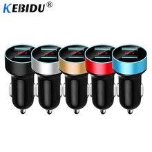 Kebidu 5 فولت 3.4A المزدوج USB شاحن سيارة شاشة الكريستال السائل الرقمي آيفون شاومي سامسونج شحن سريع ولاعة السجائر المقبس