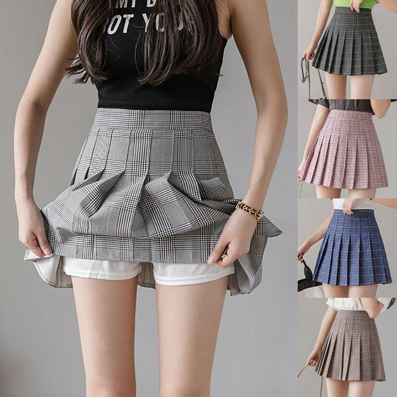 Women Short Pleated Plaid Korean Slim Fit High Waist Preppy Style Empire Skirts Girls Fashion Mini A-line Skirt Sexy Cute Skirt