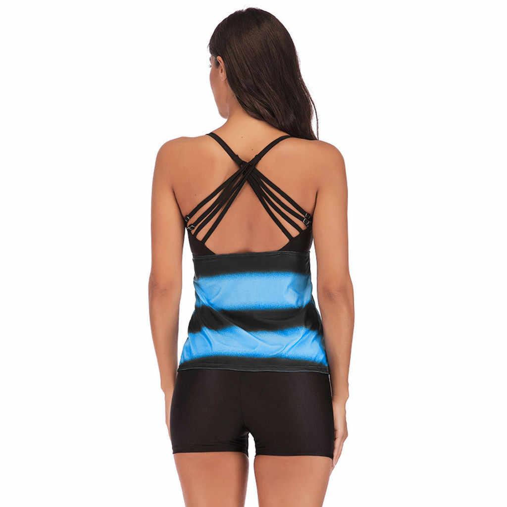 Halter Badmode Vrouwen Plus Size Gradiënt Strip Sexy Bikini Badmode Badpak Badpak Beachwear Lagere Taille D5