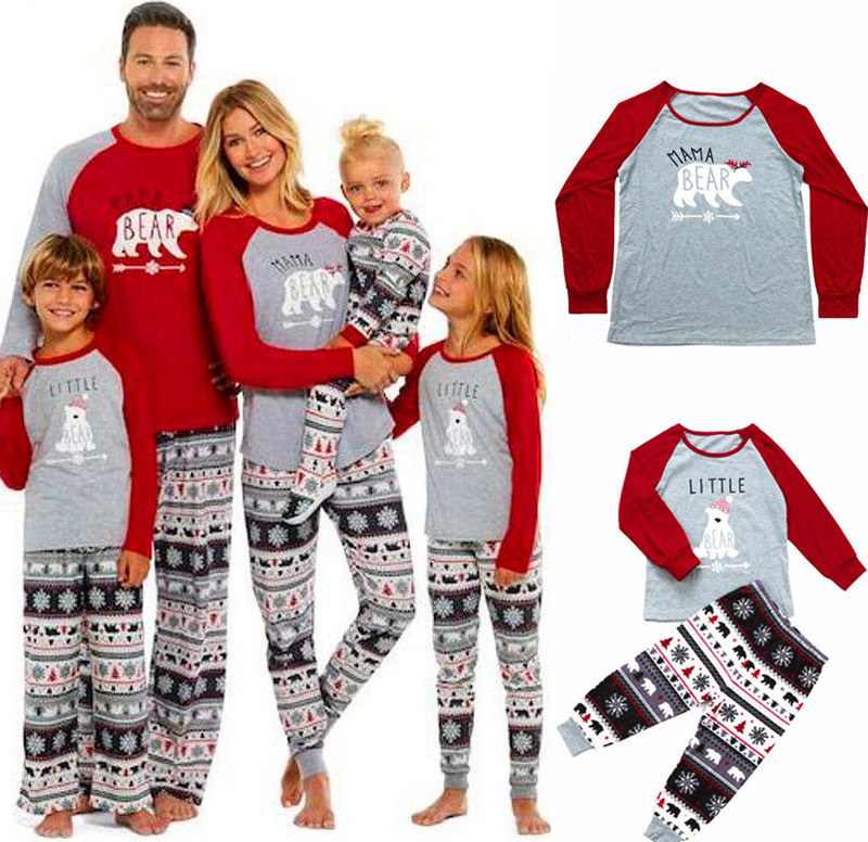 Family Christmas Pajamas Set Family Father Mother Kids Sleepwear 2019 Xmas Family Look Tops+Pants 2PCS Family Mathing Sleepwear