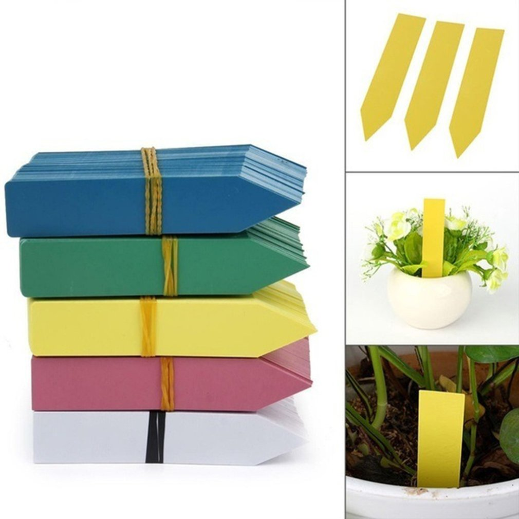 4 Pack of 100 10cm Yellow Plastic Garden Plant Labels Seed Pot Tray Tags Markers