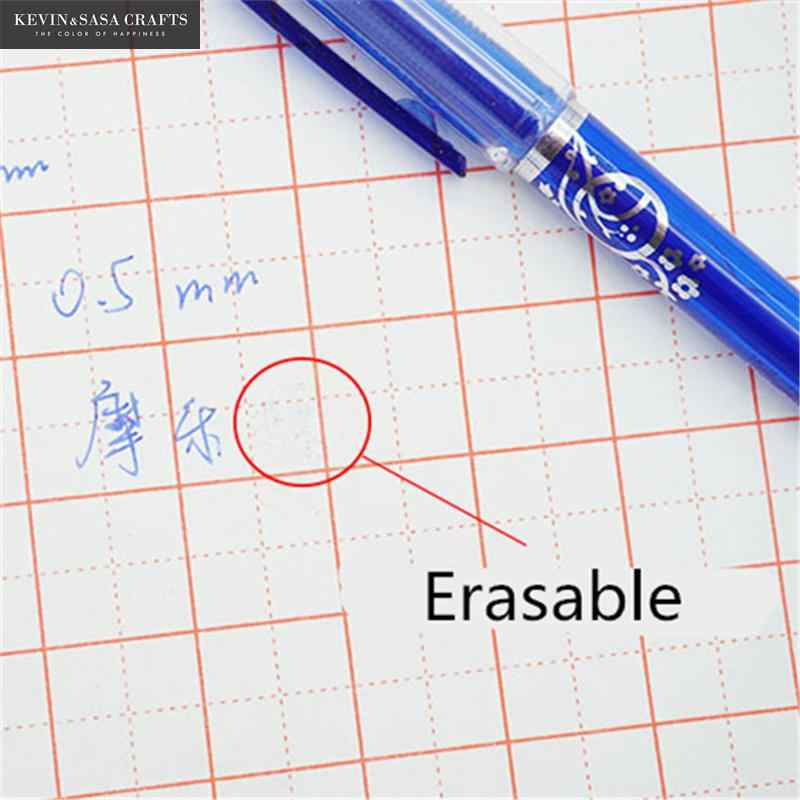2 + 50 Pcs/Set 0,5mm Blau Schwarz Tinte Gel Stift Löschbaren Refill Stange Löschbaren Stift Waschbar Griff schule Schriftlich Schreibwaren Gel Ink Pen