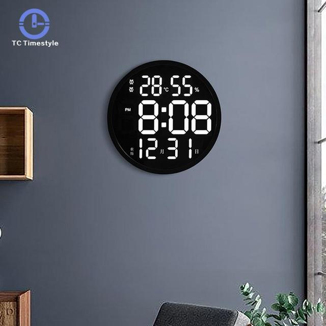 12 Inch LED Large Number Digital Wall Clock Temperature And Humidity Electronic Clock Modern Design Decoration Home Office Decor