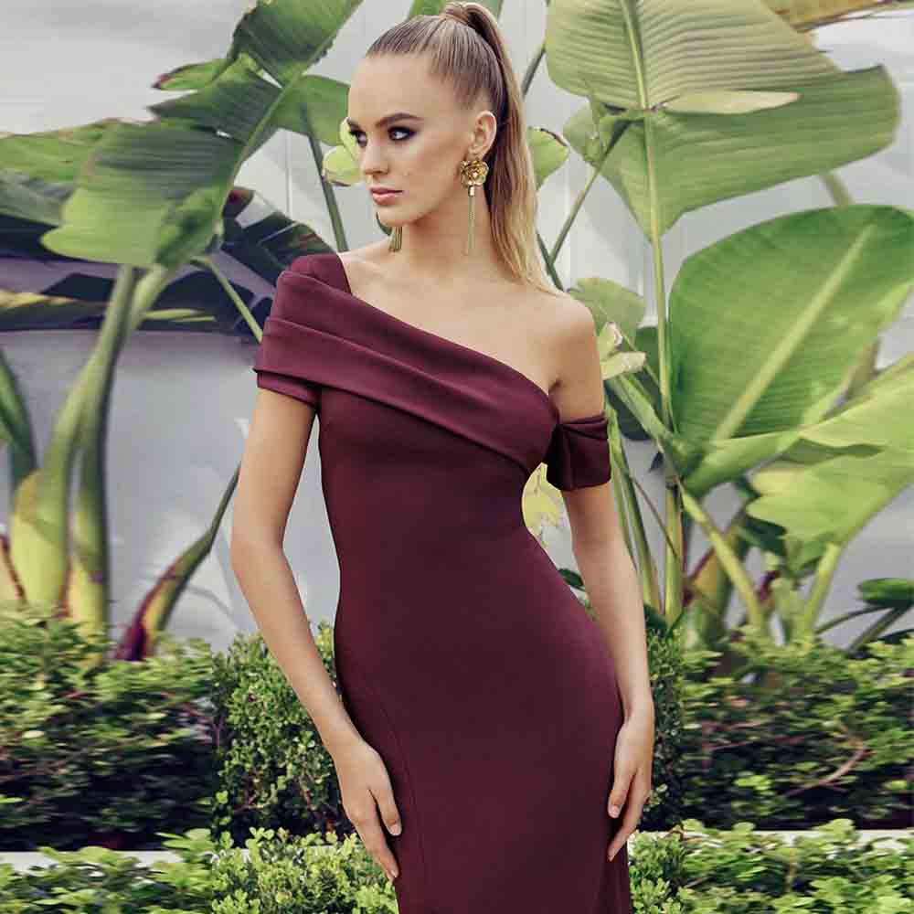 Ocstrade 2020 Sexy One Shoulder Bandage Dress Elegant Women Summer Wine Bandages Dress Bodycon Celebrity Evening Party Dress