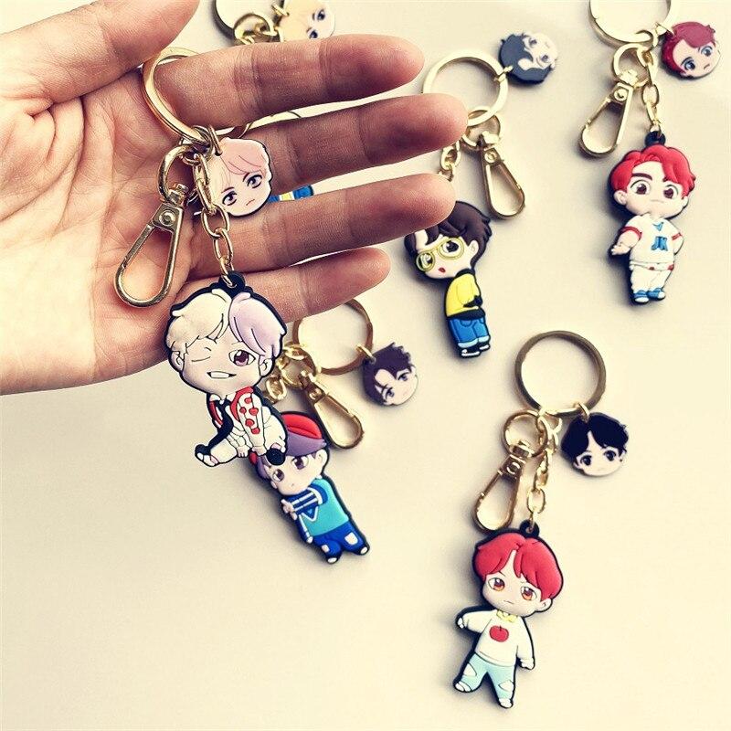 Kpop  Bangtan Boys JK Cartoon 3D Silicone Keychains Creative Bag Pendant Key Rings Accessories Key Holder Figures Gifts 5*5.5CM
