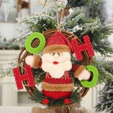 Doll Pendants Wreath Ornaments Wall Door Decor Christmas Tree Hanging Toy Rattan Garland Snowman Santa Festival Party Home