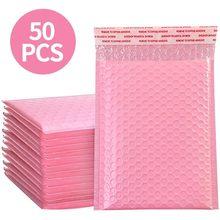 50 sacos de empacotamento do envelope dos sacos do presente do selo do auto do mailer poli cor-de-rosa da bolha dos pces