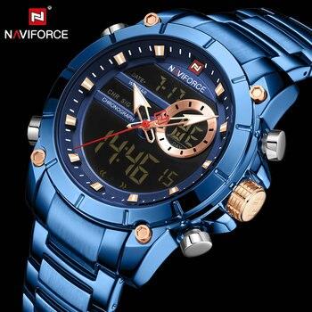 NAVIFORCE 9163 Dual Time Quartz Watch Men Multifunction Date Alarm LEDWatches Blue with box