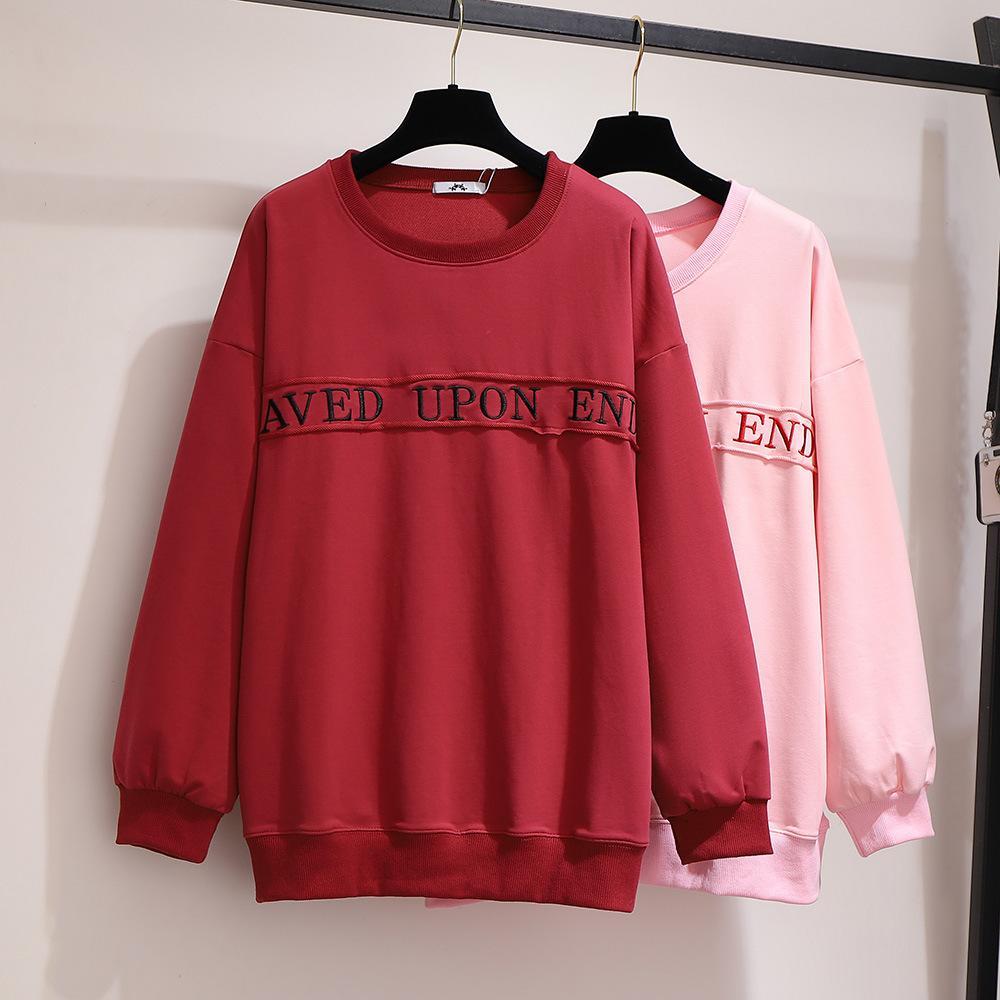 5XL 6XL Plus Size Sweatshirt Round Neck Long Sleeve Warm Large Size Sweatshirts Women Letter Printed Loose Hoodies Casual Coat