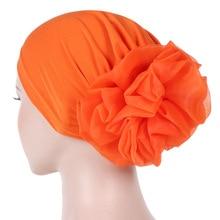 Helisopus Women New Muslim Pure Color Turban Big Ladiess Headband Ladies Elastic Headwear Covers Hair Accessories
