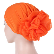 Helisopus女性新教徒純粋な色ターバンビッグladiess女性弾性帽子カバーヘアアクセサリー