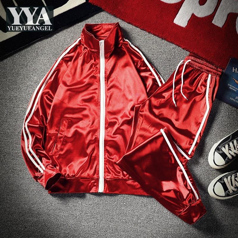 Hip Hop Mens Casual Training Tracksuit Streetwear Fashion Two Piece Set Stand Collar Zip Bomber Jacket Elastic Waist Sweatpants