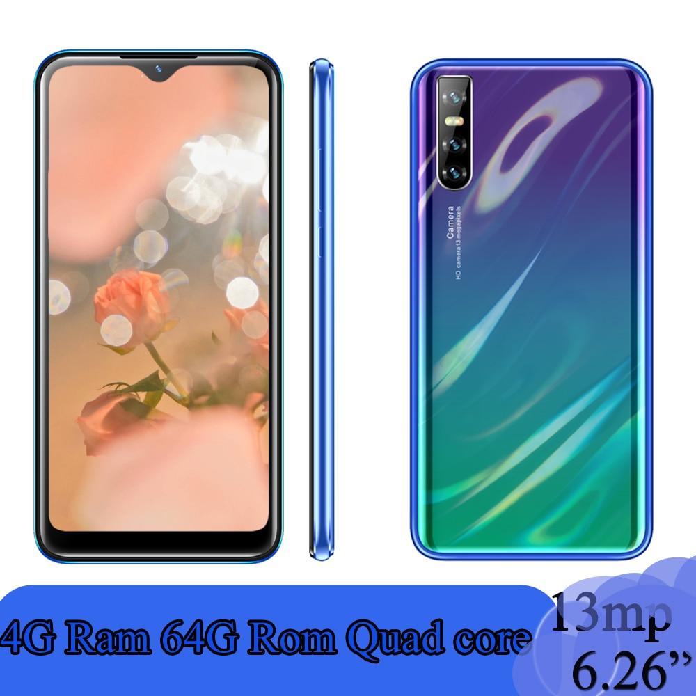 "Globale x30 android smartphones telefones celulares 6.26 ""Waterdrop quad core 4G RAM 64G ROM 13MP Gesicht ID entsperrt handys"