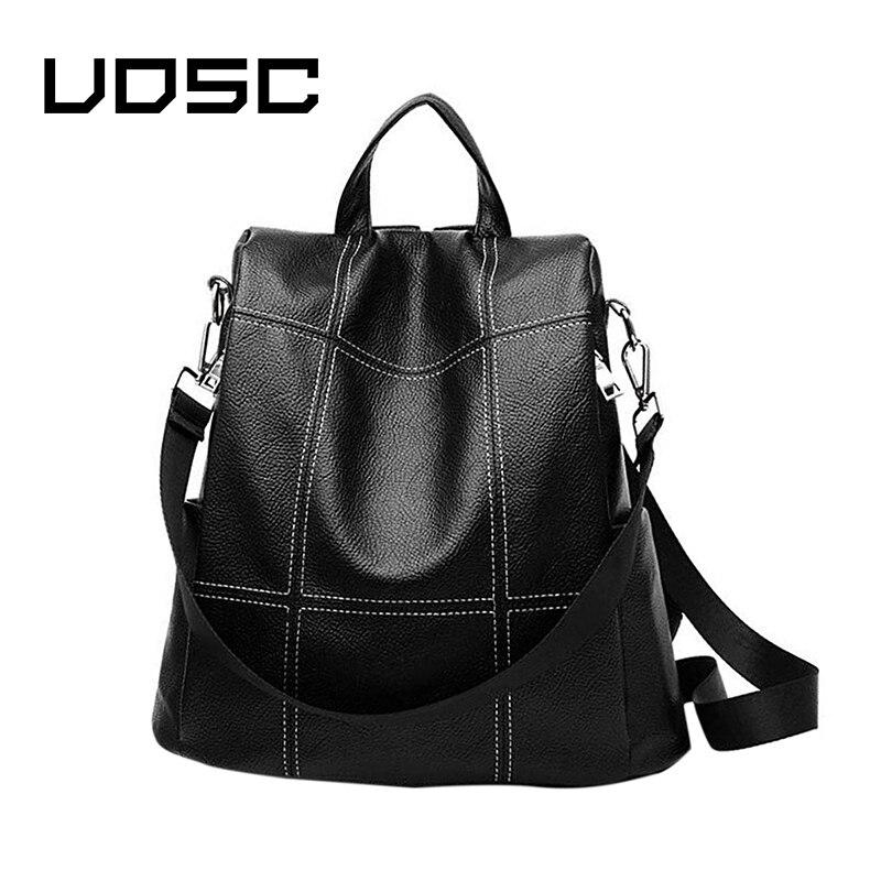 UOSC Vintage Leather Backpacks Female Travel Shoulder Bag Mochilas Women Backpack Large Capacity Rucksacks For Girls