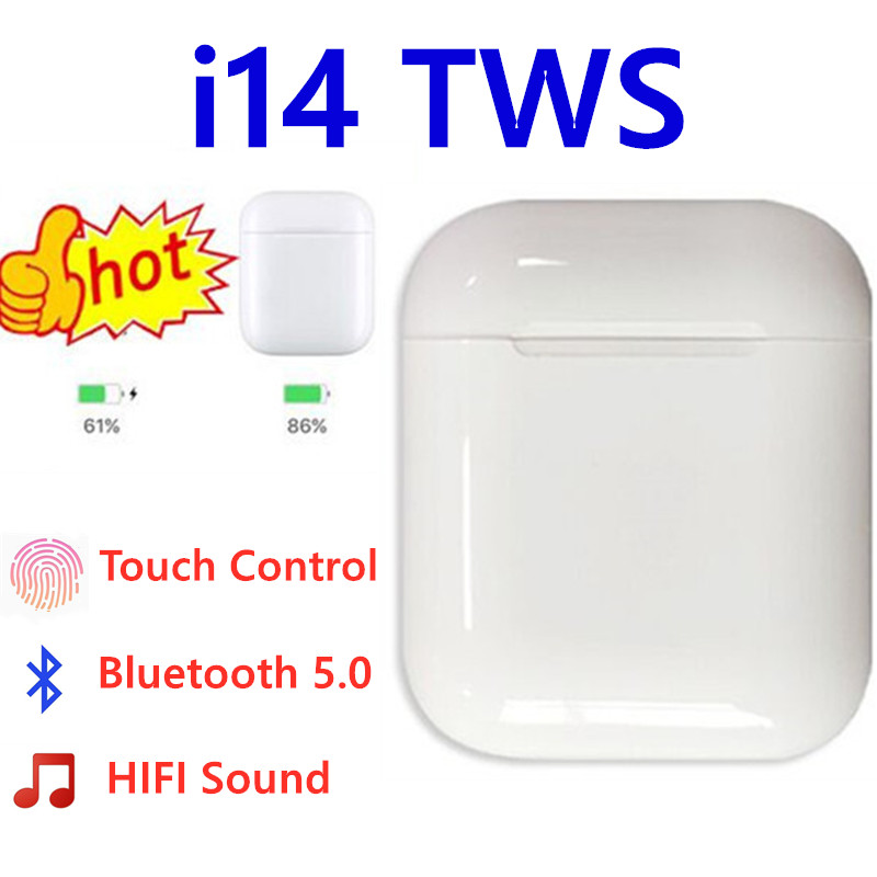 <font><b>i14</b></font> <font><b>TWS</b></font> i 14 <font><b>tws</b></font> true wireless 1:1 ear buds headphones bluetooth handsfree earphone super bass earbuds for iphone xs samsung s9 image