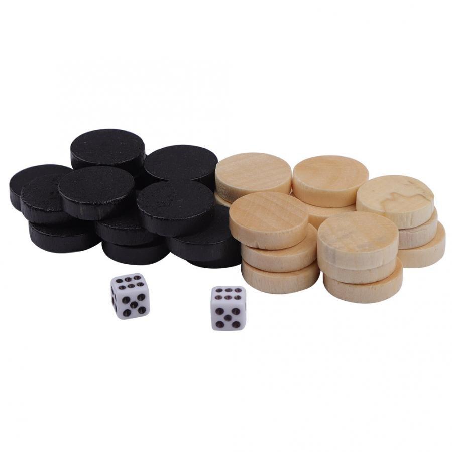 Pièces d'échecs en bois 32 pièces courants d'air jeu de société pièces d'échecs courants d'air & dames & Backgammon pièce d'échecs pour les enfants apprenant à jouer