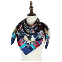 head scarf factory silk sshawls 90cm square hijab paisley luxury womens shawls femme mujer boho bufandas invierno cape printed