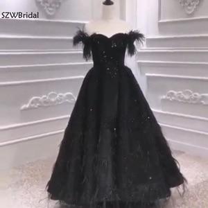 Image 5 - Новое поступление, мусульманское вечернее платье 2020, вечернее платье с черными перьями и бисером, Дубай, арабские Длинные платья, вечерние платья