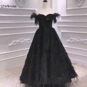 Image 5 - Nova chegada muçulmano vestido de noite 2020 prom preto pena beading vestido de noite dubai árabe vestidos longos festa à noite vestido