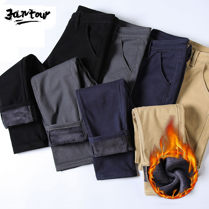 New Mens Winter Fleece Warm Pants Men Casual Thick Pants For Men Velvet Business Black Gray Blue Straight Work Trousers Homme