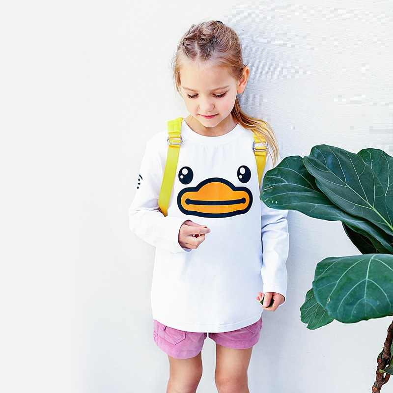 B. Duck Small Yellow Duck Spring And Autumn Childrenswear Children Long Sleeve Base Shirt Men And Women Children Knit Crew Neck