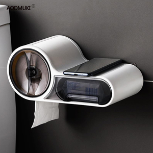 Image 1 - 다기능 무료 펀칭 티슈 상자 화장지 홀더 플라스틱 스토리지 박스 화장실 방수 욕실 액세서리
