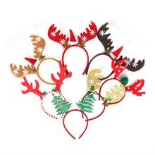 Christmas Headband Xmas HairBand Reindeer Tree Headwear Head Hoop Party Hairband New Year Kids Gift Navidad Decor Noel