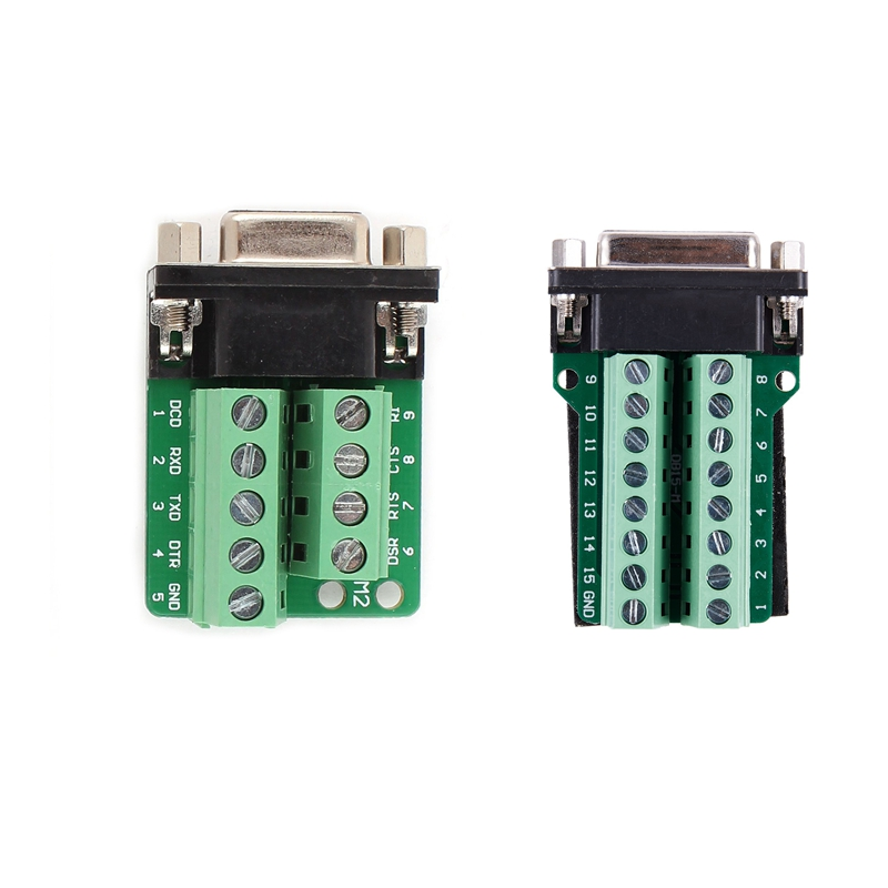2 Pcs Adapter: 1 Pcs DB15 D-SUB VGA 15Pin Female Adapter Jack Terminal Breakout PCB Board & 1 Pcs RS232 D-SUB DB9 Female Adapter