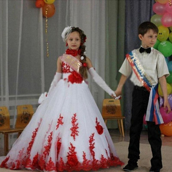 Pageant Red Lace Handmade Flowers Kids Princess Gown Flower Girl Dress For Wedding Birthday Party Baptism Vestido High Neck