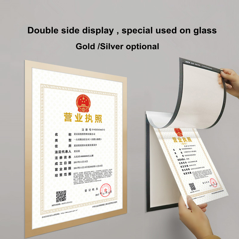 Double Side Display A3 Glass Use Magnetic Self-adhesive PVC Poster Frame Certificate Documents Paper Picture P Frame 5 Packs
