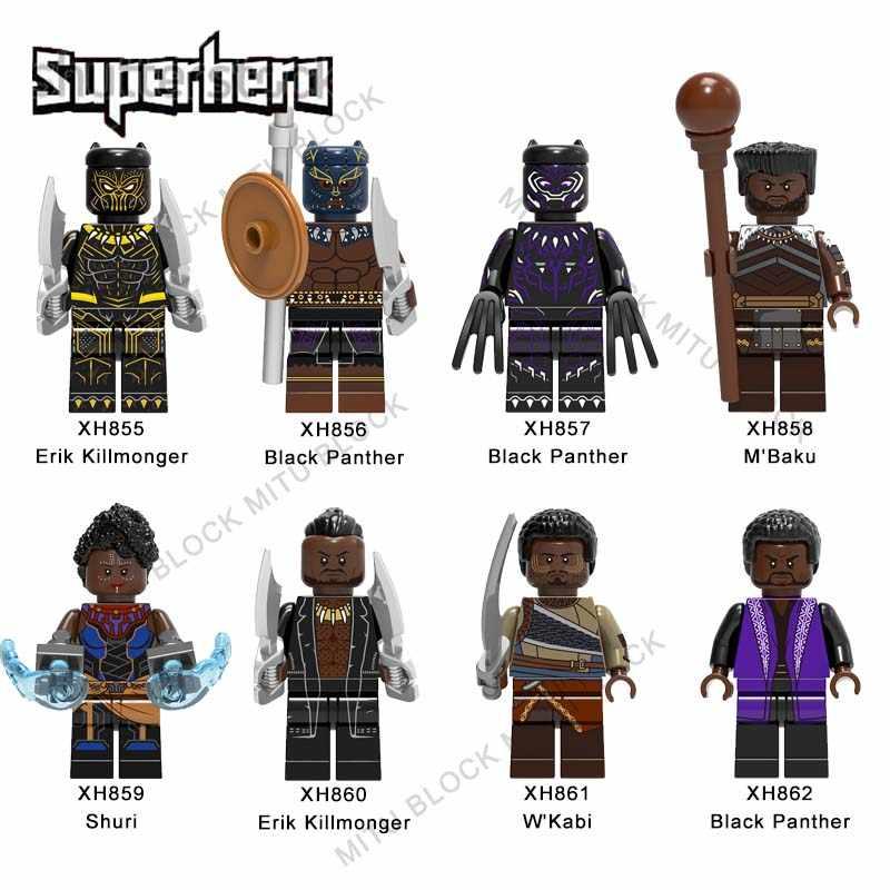1 шт. Legoelys Super Heroes Block Erik Killmonger Железный человек M'Baku Shuri Erik Killmonger W'Kabi Черная пантера Строительный кирпич