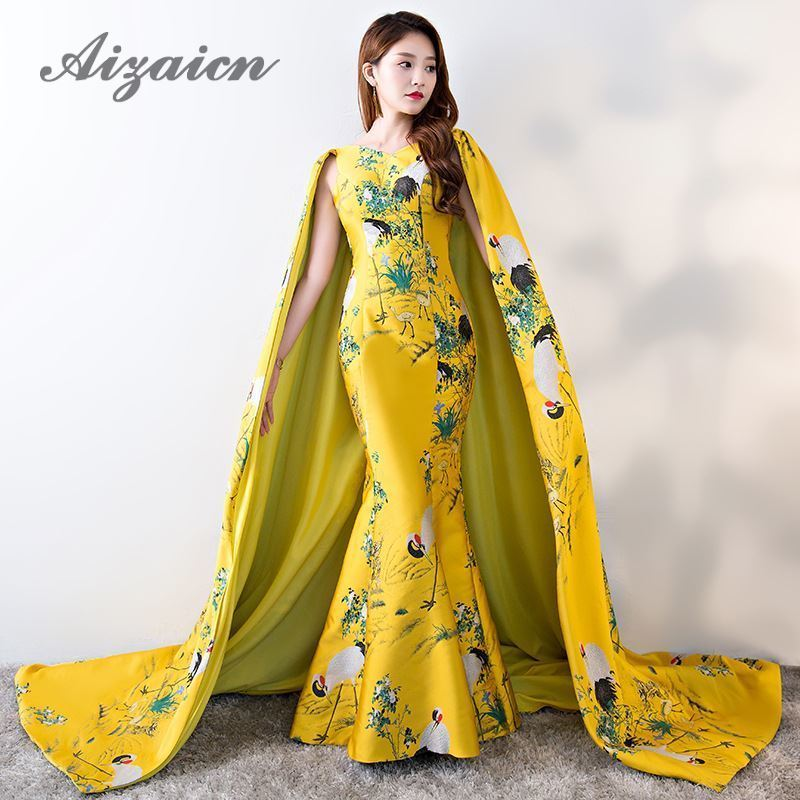 Dubai Evening Dress With Shawl Floor Length 2018 Yellow Mermaid Satin Cheongsam Long Chinese Qipao Oriental Style Dresses