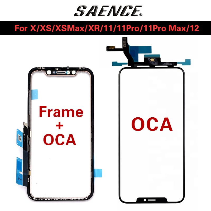 5pcs Original AAA LCD Touch Sensor Glass with Frame+OCA Glue For iPhone X XS MAX XR 11 Pro max 12 Screen Cover Repairing OLED