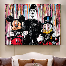 Abstract Graffiti Arrested Guilty Duck And Mouse Street Art Poster Prints Canvas Painting On Wall Decor Cartoon Picture