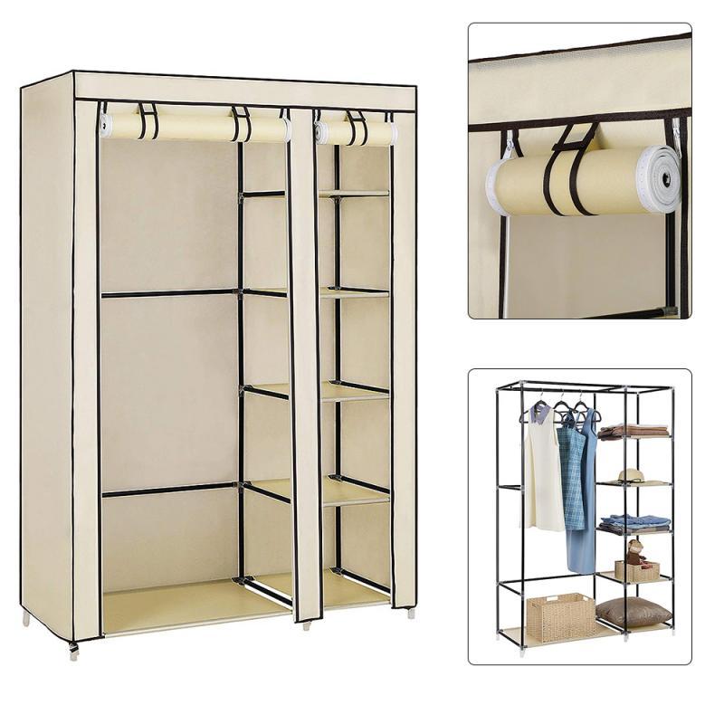Meubles de chambre à coucher moderne 3 couleurs Non-tissé fermeture éclair Style tissu armoire noir armoire de rangement pliant en acier individuel placard HWC
