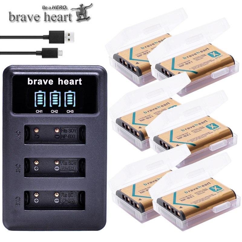 6x Bateria NPBX1 NP-BX1 NP BX1 Battery Packs + 3lots USB Charger For Sony DSC RX1 RX100 AS100V M3 M2 HX300 HX400 HX50 HX60 GWP88