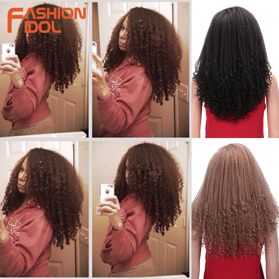 FASHION IDOL Short Bob Hair Puffy Afro Kinky Curly Wig Synthetic Wigs For Black Women 16 Inch Curly Ombre Brown Hair Cosplay Wig