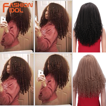 цена на FASHION IDOL Short Bob Hair Puffy Afro Kinky Curly Wig Synthetic Wigs For Black Women 16 Inch Curly Ombre Brown Hair Cosplay Wig