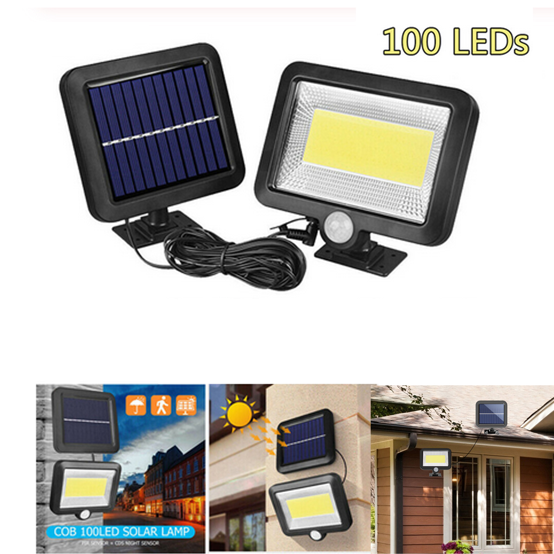 COB 56/100LED Solar Lamp Motion Sensor Waterproof Outdoor Path Support Outdoor Lighting Solar Light Sunlight Dropship