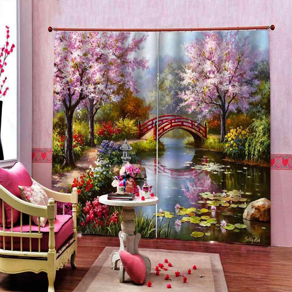 ピンクの油絵カーテン 3D カーテン高級ブラックアウトウィンドウカーテンリビングルーム