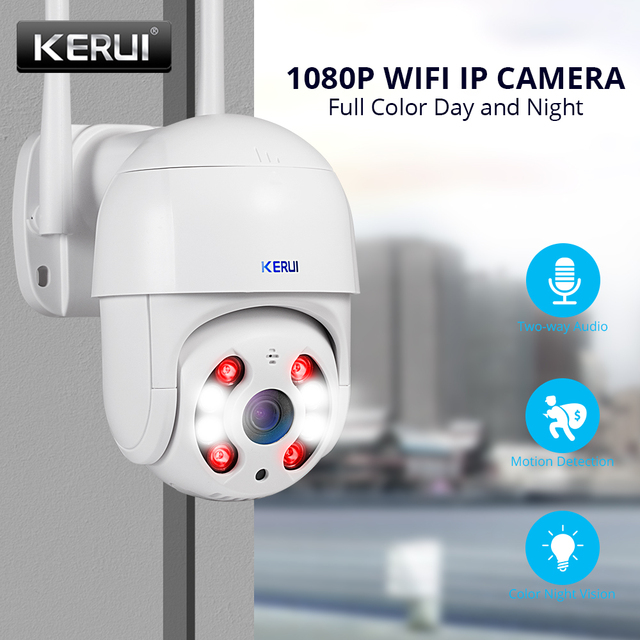 Kerui Dome IP Camera HD1080P WIFI Alarm IP Camera PTZ Rotation Home Security Surveillance With IR Night Vision Motion Detection