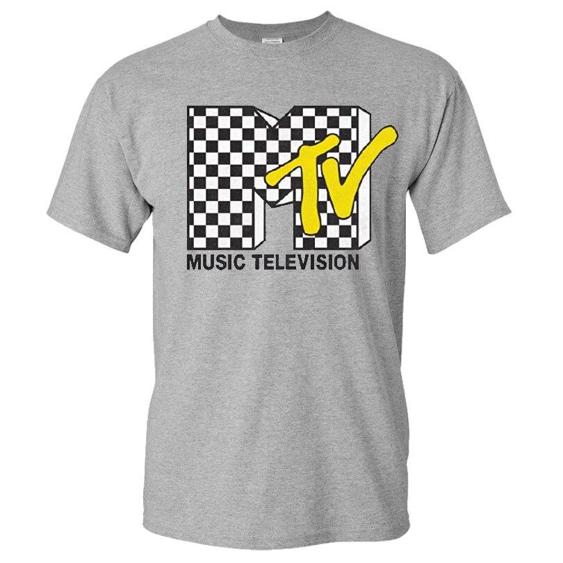 MTV-Camiseta deportiva para hombre, con estampado de patrón de cuadros, ropa de calle de 1980, cuello redondo, informal, de algodón, a la moda