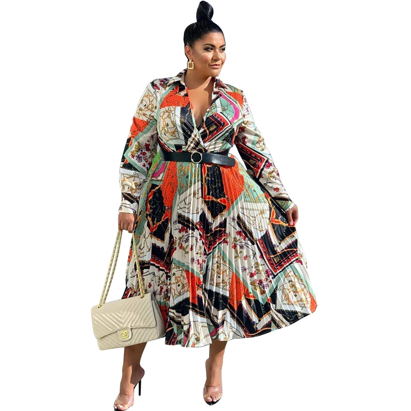 2019 African Clothing Best Quality New Office Lady Plus Size Women Dress Print Turn-down Collar Full Sleeve Ladies Midi Dress